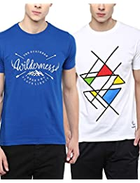 [Sponsored]100% Cotton Round Neck Printed Summer T-Shirts For Men Combo Pack By Wilderoo - Royal Blue & White