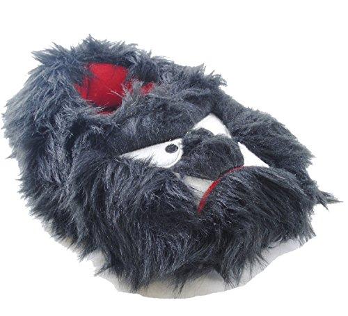 SlumberzzZ FT0806 Hausschuhe für Jungen, Monster-Design, flauschige Schuhe mit Gummizug in der Ferse Monster Black