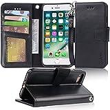 Premium iphone 7 Hülle, iphone 8 Hülle, Arae schwarz aus Leder zum Klappen mit Karten- und Geldfach, mit Kick-Stand zum Aufstellen, Magnetverschluss