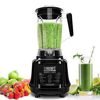 ISUN Aimores Commercial Blender for Shakes and Smoothies 75oz High-Speed Programmed Kitchen Blender, Smoothie Maker,with Tamper & Recipe, CE & LFGB & RoHS, Silver