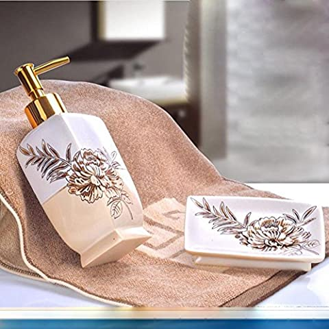 NHD-Bathroom set European creative hand Sanitizer bottles of soap box two piece bathroom amenity Kit , 2 - Rosa Lucido Gift Box