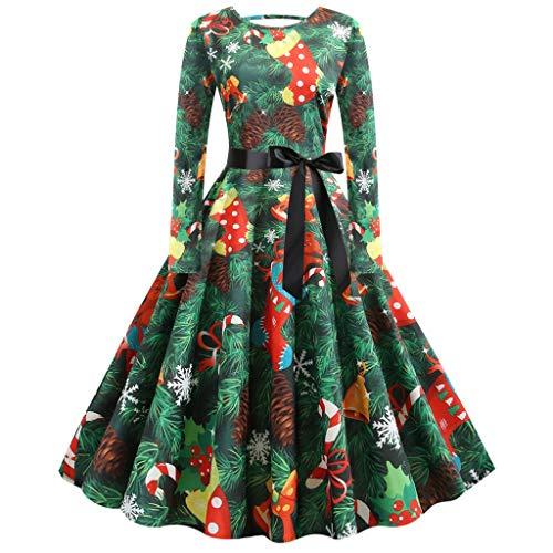 YBWZH 2019 Kleider Damen Weihnachtskleid Weihnachten Runder Kragen Kleid Weihnachtskleid Weihnachtsdrucke Vintage Langarm Kleid Abendkleid A-Linie Cocktailkleid Langarm Midikleid