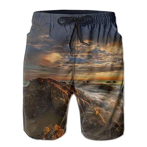 Adults Swim Trunks Drawstring Quick Dry Board Shorts Malibu Beach Sunset - Malibu Bay