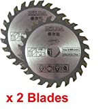 Zwei Kreissägeblätter 85mm Durchmesser x 15mm Bohrung x 24T zum Schneiden von Holz