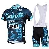 LHZTZKA Abbigliamento da Ciclismo per Uomo Set, Traspirante Quick Dry Maglia Manica Corta da Ciclista + Cuscino 3D Imbottito da Equitazione Pantalone Pantalone