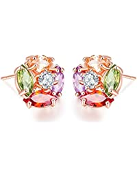Peora Multicolor 18K Rose Gold Plated Cubic Zirconia Stud Earring Jewellery For Women And Girls, Engagement Anniversary...