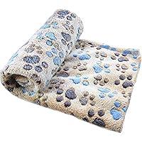 Westeng Tapis Coussin en Velours corail Plus épais Couverture Pliable Doux Confortable Motif de pattes Coussins Pet pour pour les petites et moyennes gros chiens 100*80cm L