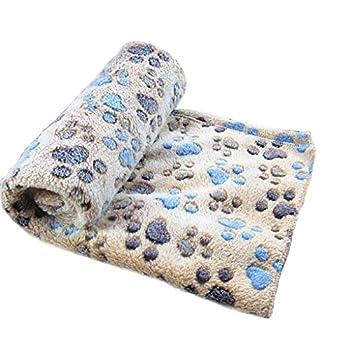 Westeng Petit chien Tapis Coussin en Velours corail Plus épais Couverture Pliable Doux Confortable Motif de Empreintes Coussins Pet 60*40cm S