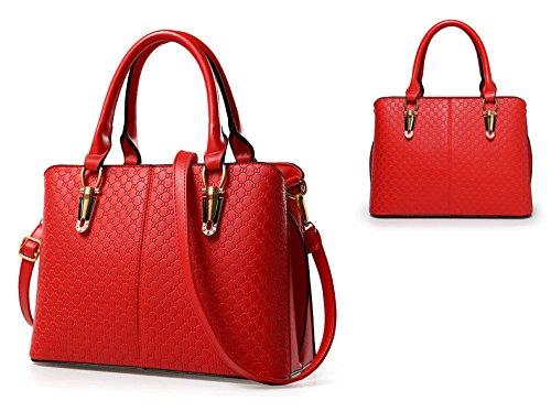 Ladies ' Tote- Multifunzionale PU Borsa/ taglia larga frizioni/ Borsa a tracolla con una cinghia staccabile lungo-Nero Rosso
