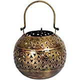 Rajcrafts Antique Rajasthani Pink City Jaipur Unique Traditional Iron Handmade Handi Metal Golden Tealight Bucket Candle Holder Decorative Gift Item Home / Table / Wall Decor Showpiece / Figurine Metal Lamp With Jali (5 Cm X 11 Cm X 22 Cm, Gold)