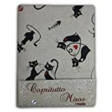 Large Scarf Throw Bedspread Sofa Fabric Miros Cats Black Cat – 2 PIAZZE