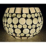 Rajasthani Handmade Mosaic White Glass Candle Holder 3 Inches