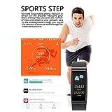 Jasnyfall Fitness Tracker Activity Tracker 0.96 inch Smart Bracelet Measuring Heart Rate Pedometer Sports Bracelet Color:Black