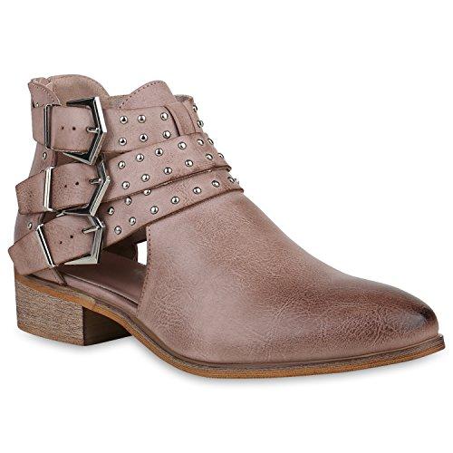 Damen Stiefeletten Ankle Boots Leder-Optik Cut Outs Biker Schuhe 156632 Rosa 40 Flandell