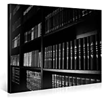 Gallery of Innovative Art – Black & White Bookshelf – 100x75cm – Larga stampa su tela per decorazione murale – Immagine su tela su telaio in legno – Stampa su tela Giclée – Arazzo decorazione murale
