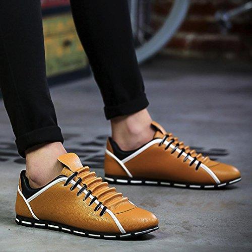 Familizo-Scarpe Fami Scarpe Sportive Piatte da Ginnastica Traspiranti comode in Pelle Casual per Uomo Stile Nuovo Giallo