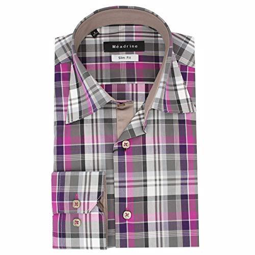 Meadrine Hemd Karo Taupe Rose violett und Auskleidungen Maulwürfe - 2XL, Pink