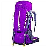 650 Waterproof Outdoor Sport Hiking Trekking Camping Travel Backpack Pack Mountaineering Climbing Knapsack with Rain Cover , purple