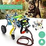 Adjustable pet Wheelchair for Dog Chariot en Aluminium pour Fauteuil Roulant pour Animal de Compagnie, Chat handicapé, Marche arrière, avec Jambes, Poids 32x16x24cm, Poids 1-3kg, réglable...