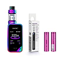 tenty.co.uk Authentic SMOK X PRIV Kit 225W TFV12 Prince 2mL Tank E Cigarette Starter Kit (Rainbow) w/ Efest 3000mAh Battery + PEACEVAPE™ 1-Slot Slim Charger