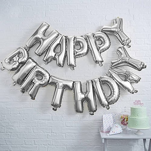 Monkey Home Magideal 13pcs Globos Happy Birthday Carta Papel Decoración Cumpleaños Partito – Plata