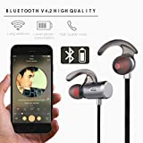 Aonsen Bluetooth Headphones, Wireless V4.2 Magnetic Earbuds In-Ear Headset with Waterproof Sports Earphones, Built-in Mic Noise Canceling Stereo for Running Gym(Grey) - Fozento