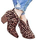 MRULIC Damen Schuhe Boots Mode Knöchel Solide Leopard Reißverschluss Martin Bootie Kurze Stiefel Wildleder Blockabsatz(Braun,39 EU)