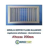 Boquillas Rejillas Altura 200mm de aluminio o blanco con solapas inclinables SINGOLARMENTE, Plateado