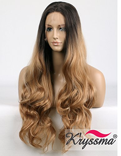 K'ryssma Blond Lang Perücke Braun Blond Ombre Wavy Wig Synthetic Haar Wavy Blond Perücke Half Hand Tied 24 inch - Gewaschen Nylon-kappe