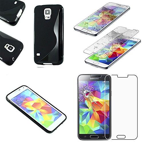 ebestStar - [Kompatibel mit Samsung Galaxy S5 Hülle [G900F, S5 New G903F Neo: 142 x72.5 x8.1mm, 5.1''] TPU S-line Style Silikongel Handyhülle, Schutzhülle Case Cover, Schwarz +Panzerglas Schutzfolie