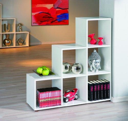 Links 13500200 Raumteiler Regal weiß Bücherregal Wandregal Aktenregal Wohnzimmer 6 Fächer NEU