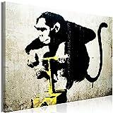 decomonkey | Bilder Banksy Street Art 90x60 cm | 1 Teilig | Leinwandbilder | Bild auf Leinwand | Vlies | Wandbild | Kunstdruck | Wanddeko | Wand | Wohnzimmer | Wanddekoration | Deko | Affe Mauer