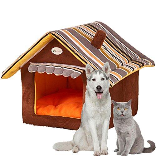 LA VIE Haustier Zwinger Gemütlich Plüsch Hundehöhle Katzenbett für Hunde Katzen Welpen Kleines Haustier Abnehmbares Haus & Sofa Hundehütte L