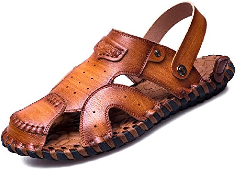 ZJM  Closed Toe Designed Man Sandale Beach Schuhe Sommer Slipper Soft Echtes Leder Rutschfeste Fischer SchuheDesigned Sandale Slipper Rutschfeste Fischer