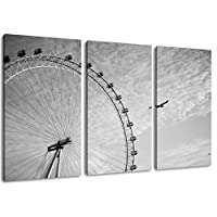 London Eye, Big Wheel, Format: 120x80 total three-piece, covered painting on canvas, huge XXL images completely finished and framed with stretcher, Art print on wall picture with frame, cheaper than painting or picture, not a poster or banner
