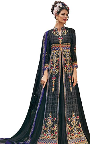 Exotic India Nine-Iron-Gray Floor-Length Anarkali Suit with Mughal Print - GreyGarment Size 36