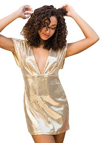 Leg Avenue 86594 - Paillettenkleid mit Tiefem V-Ausschnitt Vorn, Größe L, gold