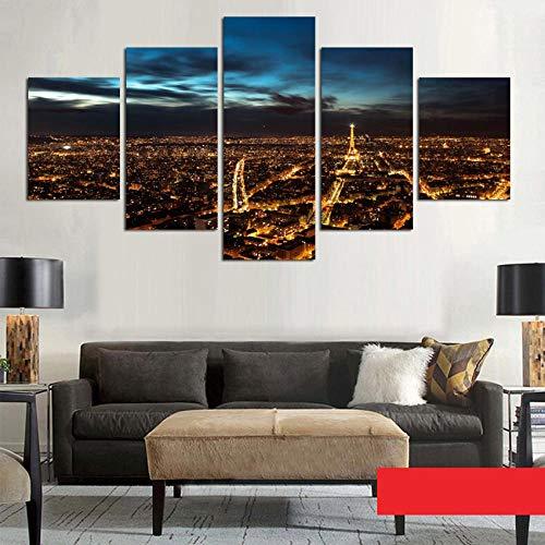 WLHDM Moderne Malerei Kunst Poster Wand Modulare Bild 5 Panel Paris In Der Nacht Dekoration Druck Auf Leinwand Für Wohnzimmer Mit Rahmen (Nacht Paris-dekorationen In)