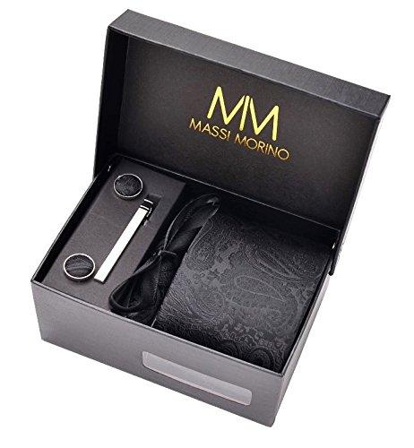 Massi Morino Paisley Krawatten - Box Set mit Einstecktuch, Manschettenknöpfe und Krawattennadel, handgenäht aus Mikrofaser Kunstseide in bunten Paisleymuster, inkl. Geschenkbox (Schwarz) (Schwarzes Einstecktuch)