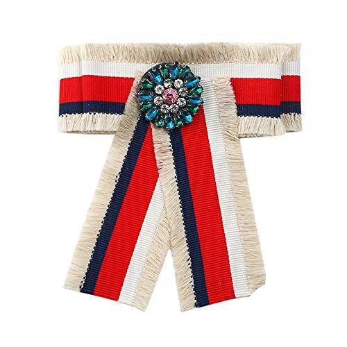 Frauen Ribbon Krawatte Brosche Die Fliege der Streifen-Entwurfs-Dame pre-Tied formales beiläufiges Bowtie für Klagen und Smoking-justierbare Länge für Frauen für Frauen-Hochzeitsfest-Geschenke -