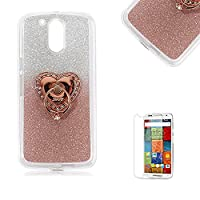 Motorola Moto G4/G4 Plus Case [with Free Screen Protector], Funyye Soft Silicone Gel TPU Ultra Thin Slim Glitter Rose Gold Gradual Colour Changing With Love Hearts Ring Holder Protective Rubber Bumper Case Cover Shell for Motorola Moto G4/G4 Plus