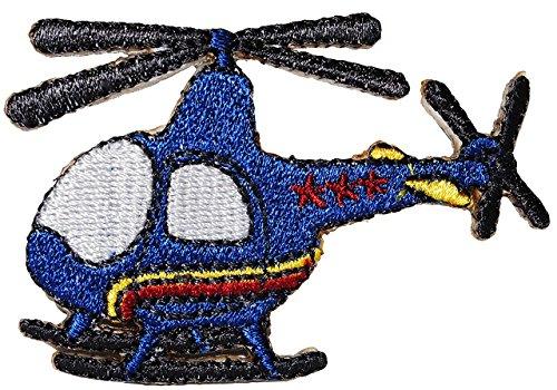 alles-meine.de GmbH Bügelbild - Helikopter / Flugzeug - blau - 6,5 cm * 4,3 cm - Aufnäher Applikation - Kinder Jungen - Flugzeuge / Reise - Flugreise Hubschrauber - Flieger