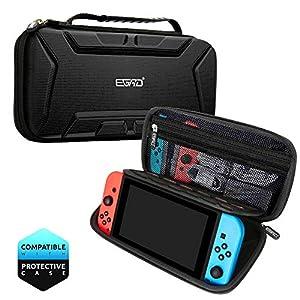 Nintendo Switch Tasche, Tragetasche für Nintendo Switch, Harte Schützend und Groß Reisetasche mit Griff Aufbewahrung 15 Spiele Konsole Adapter Nintendo Switch Zubehör in Schwarz (26.6×12.8×5.6cm)