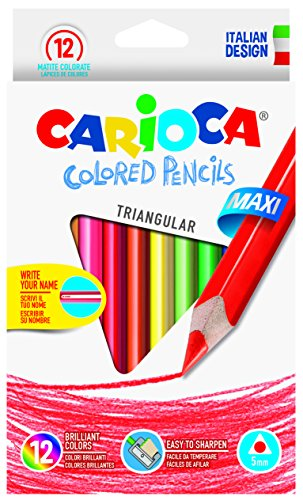12 dicke Buntstifte dreieckig dreikant - Jumbo Dickkern-Buntstifte, Farbstifte 5,4mm Mine, 12er-Etui