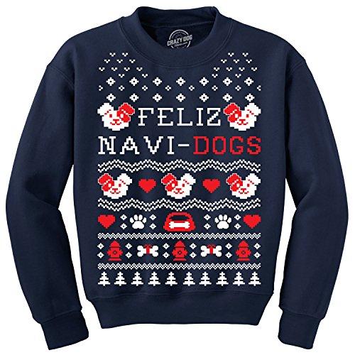 Crazy Dog Tshirts - Crew Neck Sweatshirt Feliz Navi Dogs Funny Holiday Christmas Ugly Sweater Animal Lover (Navy) - 3XL - Herren - 3XL -