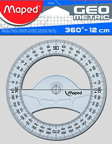 Maped 242360 Winkelmesser Geometric 360 Grad, 120 mm,aus Kunststoff, transparent, No