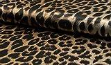StoffBook SCHWARZ/BEIGE SATINDRUCK LEOPARD ANIMAL PRINT