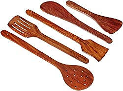 Handmade Wooden Serving and Cooking Spoon Kitchen Utensil Set of 5