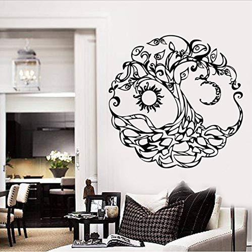 WFYY Vinyl Wandtattoo Sonne Lebensbaum Mond Haus Room Decor Aufkleber Wandbild Raumdekoration DIY 57X57 cm - Badezimmer Sonne Und Mond Sterne