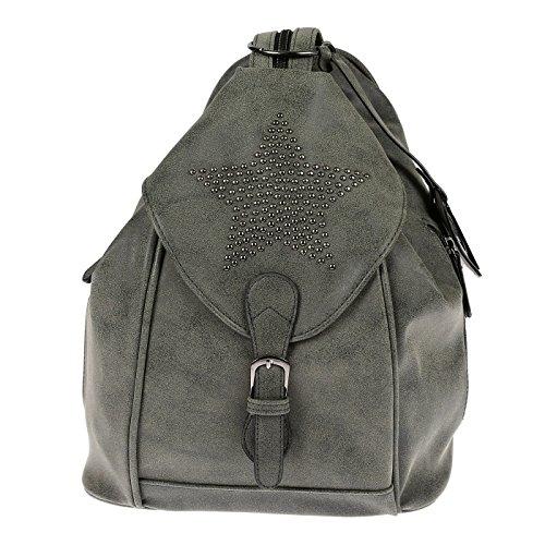 Nili Bags and More Damen Rucksack Stern Handtasche Shopper Rucksackhandtasche Handtasche Bag (Grau/Grün)